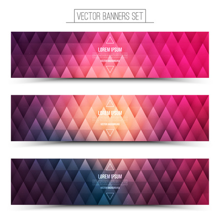 internet business: Abstract triangular 3d vector bright pink violet web banners set for business, internet, advertising, design, ui, seo