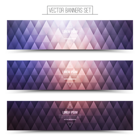 future advertising: Abstract triangular 3d vector violet web banners set for business, internet, advertising, design, ui, seo Illustration