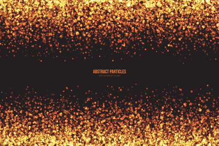 shimmer: Abstract bright golden shimmer glowing square particles vector background. Scatter shine tinsel light explosion effect. Burning sparks wallpaper. Celebration, holidays and party illustration