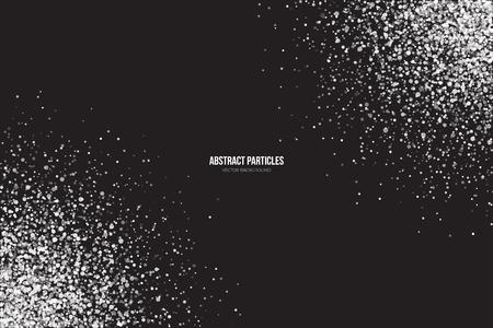 抽象的な明るい白のキラキラ光る丸い粒子はベクター背景です。降雪の影響。落下散乱輝き見掛け倒し光爆発。お祝い、休日、パーティの図  イラスト・ベクター素材