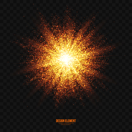 Abstract bright golden shimmer glowing particles transparent vector background. Scatter shining star dust light explosion effect. Burning sparks wallpaper. Celebration, holidays and party illustration Ilustracja
