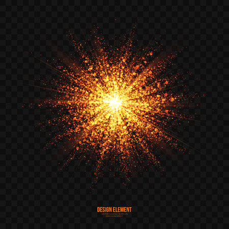 scatter: Abstract bright golden shimmer glowing particles transparent vector background. Scatter shining star dust light explosion effect. Burning sparks wallpaper. Celebration, holidays and party illustration Illustration