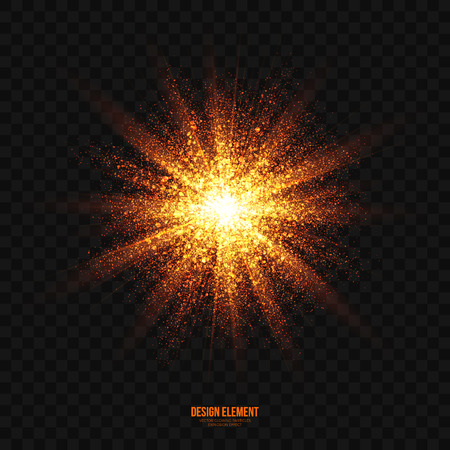 lens brush: Abstract bright golden shimmer glowing particles transparent vector background. Scatter shining star dust light explosion effect. Burning sparks wallpaper. Celebration, holidays and party illustration Illustration