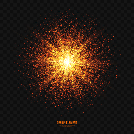 glowing star: Abstract bright golden shimmer glowing particles transparent vector background. Scatter shining star dust light explosion effect. Burning sparks wallpaper. Celebration, holidays and party illustration Illustration