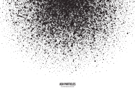 ash: Abstract vector dark gray round ash particles on white background. Spray effect. Scatter falling black drops. Hand made grunge texture