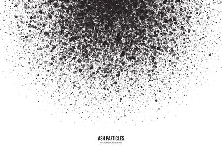 Abstract vector dunkelgrau runden Ascheteilchen auf weißem Hintergrund. Spray-Effekt. Scatter fallen schwarze Tropfen. Handgemachte Grunge-Textur