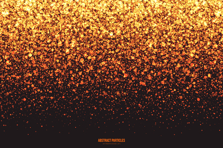 shimmer: Abstract bright golden shimmer glowing round falling particles vector background. Scatter shine tinsel light explosion effect. Burning sparks. Celebration, holidays and party illustration