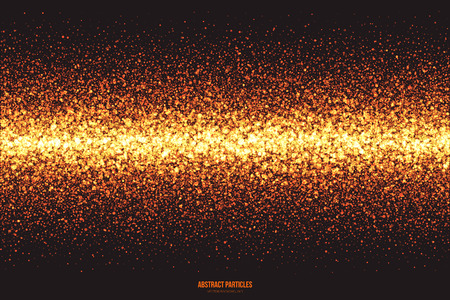 scatter: Abstract bright golden shimmer glowing round particles vector background. Scatter shine tinsel light explosion effect. Burning sparks. Celebration, holidays and party illustration Illustration