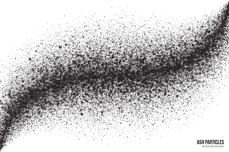 scatter: Abstract vector dark gray round ash particles on white background. Spray effect. Scatter exploding falling black drops. Hand made grunge texture
