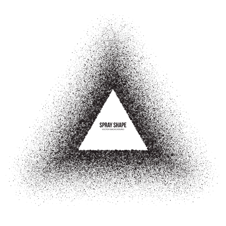 diffusion: Vector spray effect abstract triangle shape. Scatter exploding black drops. Hand made grunge texture