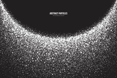 抽象的な明るい白のキラキラ光る丸い粒子背景。降雪の影響。落下散乱輝き見掛け倒し光爆発。お祝い、休日、パーティの図  イラスト・ベクター素材