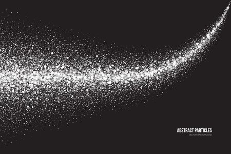 shimmer: Abstract bright white shimmer glowing round particles background. Snowfall effect. Falling scatter shine tinsel light explosion. Celebration, holidays and party illustration