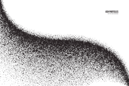 Abstract dark gray round ash particles on white background. Spray effect. Scatter exploding falling black drops. Hand made grunge texture