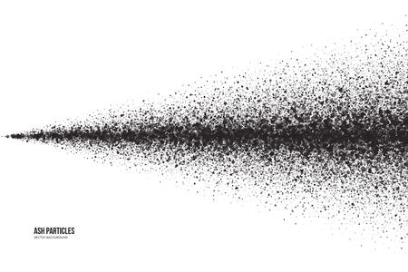 Zusammenfassung dunkelgrau runden Ascheteilchen auf weißem Hintergrund. Spray-Effekt. Scatter Explodieren Fallen schwarzen Tropfen. Handgemachte Grunge-Textur Vektorgrafik