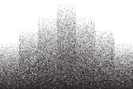 scatter: Abstract vector dark gray round ash particles on white background. Spray effect. Scatter falling black drops. Hand made grunge texture