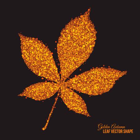 Abstract bright golden shimmer glowing dots in autumn chestnut leaf shape artistic vector background. Scatter shine tinsel particles light effect. Handmade stippled art floral illustration Illustration