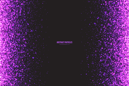 background purple: Abstract bright purple shimmer glowing round falling particles vector background. Scatter shine tinsel light explosion effect. Sparkle violet dots. Celebration, holidays and party illustration
