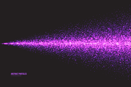 violaceous: Abstract bright purple shimmer glowing round falling particles vector background. Scatter shine tinsel light explosion effect. Sparkle violet dots. Celebration, holidays and party illustration
