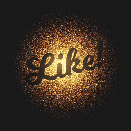 flame like: Like. Bright golden shimmer glowing round particles vector background. Scatter shine tinsel light explosion effect.  Lettering and calligraphy artwork illustration