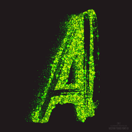 radioactive waste: Vector grunge toxic font 001. Letter A. Abstract acid scatter glowing bright green color particles background. Radioactive waste. Zombie apocalypse. Grungy shape. Hand made design element