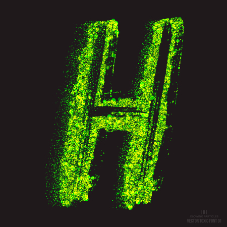 ebullient: Vector grunge toxic font 001. Letter H. Abstract acid scatter glowing bright green color particles background. Radioactive waste. Zombie apocalypse. Grungy shape. Hand made design element