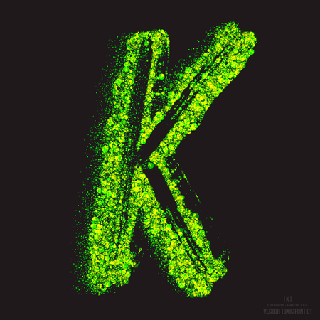 ebullient: Vector grunge toxic font 001. Letter K. Abstract acid scatter glowing bright green color particles background. Radioactive waste. Zombie apocalypse. Grungy shape. Hand made design element Illustration