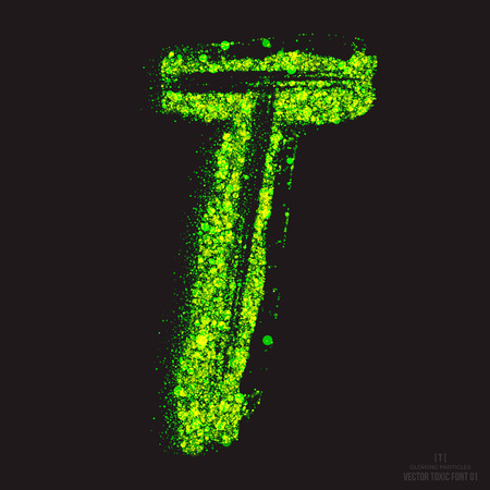 radioactive waste: Vector grunge toxic font 001. Letter T. Abstract acid scatter glowing bright green color particles background. Radioactive waste. Zombie apocalypse. Grungy shape. Hand made design element Illustration