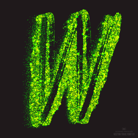 ebullient: Vector grunge toxic font 001. Letter W. Abstract acid scatter glowing bright green color particles background. Radioactive waste. Zombie apocalypse. Grungy shape. Hand made design element