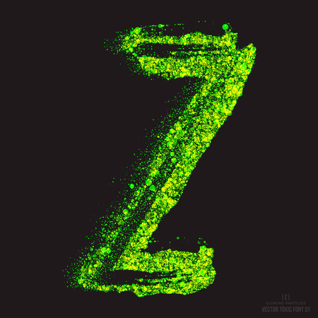 ebullient: Vector grunge toxic font 001. Letter Z. Abstract acid scatter glowing bright green color particles background. Radioactive waste. Zombie apocalypse. Grungy shape. Hand made design element Illustration