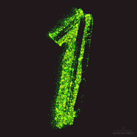 ebullient: Vector grunge toxic font 001. Number 1. Abstract acid scatter glowing bright green color particles background. Radioactive waste. Zombie apocalypse. Grungy shape. Hand made design element