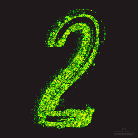 ebullient: Vector grunge toxic font 001. Number 2. Abstract acid scatter glowing bright green color particles background. Radioactive waste. Zombie apocalypse. Grungy shape. Hand made design element Illustration