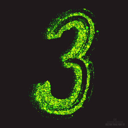 ebullient: Vector grunge toxic font 001. Number 3. Abstract acid scatter glowing bright green color particles background. Radioactive waste. Zombie apocalypse. Grungy shape. Hand made design element