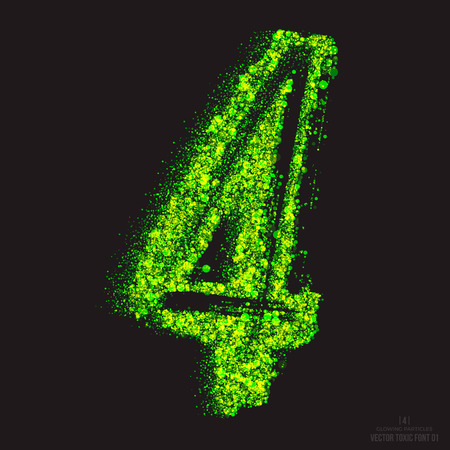 ebullient: Vector grunge toxic font 001. Number 4. Abstract acid scatter glowing bright green color particles background. Radioactive waste. Zombie apocalypse. Grungy shape. Hand made design element