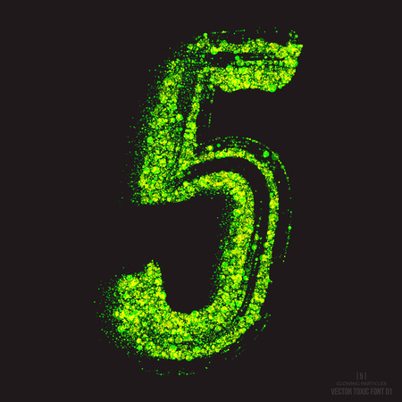 ebullient: Vector grunge toxic font 001. Number 5. Abstract acid scatter glowing bright green color particles background. Radioactive waste. Zombie apocalypse. Grungy shape. Hand made design element Illustration