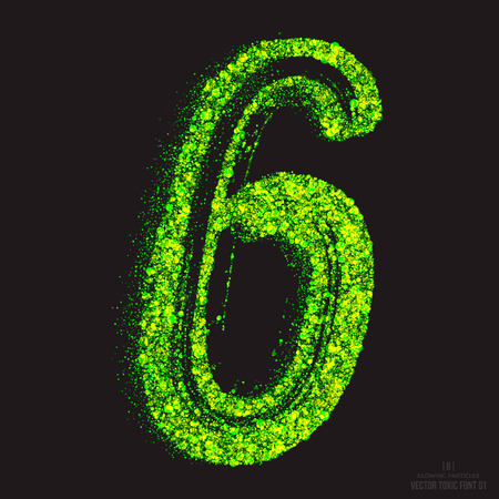 noxious: Vector grunge toxic font 001. Number 6. Abstract acid scatter glowing bright green color particles background. Radioactive waste. Zombie apocalypse. Grungy shape. Hand made design element