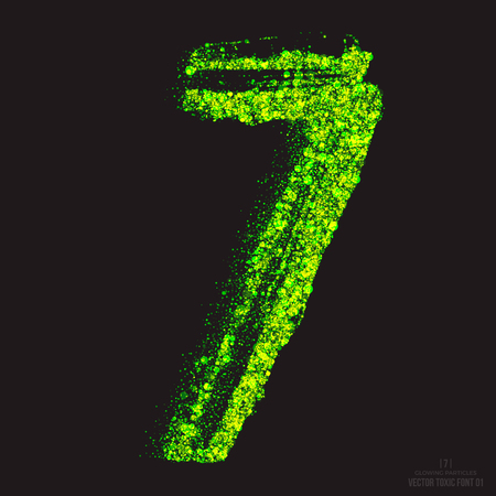 ebullient: Vector grunge toxic font 001. Number 7. Abstract acid scatter glowing bright green color particles background. Radioactive waste. Zombie apocalypse. Grungy shape. Hand made design element Illustration