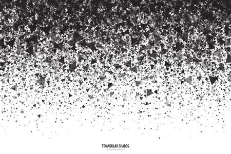 抽象的なベクトル黒白い背景に三角形の破片。暗い灰色の三角形の落下粒子を散布図します。爆発の効果