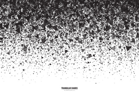 shiver: Abstract vector black triangular shards on white background. Scatter falling dark gray triangle particles. Exploding effect Illustration
