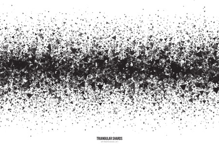 Abstract vector black triangular shards on white background. Scatter falling dark gray triangle particles. Exploding effect Illustration