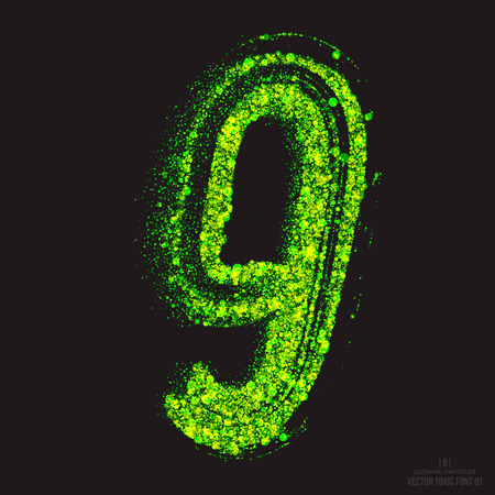 ebullient: Vector grunge toxic font 001. Number 9. Abstract acid scatter glowing bright green color particles background. Radioactive waste. Zombie apocalypse. Grungy shape. Hand made design element