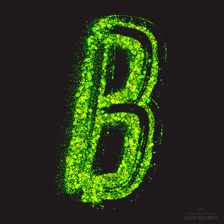 ebullient: Vector grunge toxic font 001. Letter B. Abstract acid scatter glowing bright green color particles background. Radioactive waste. Zombie apocalypse. Grungy shape. Hand made design element