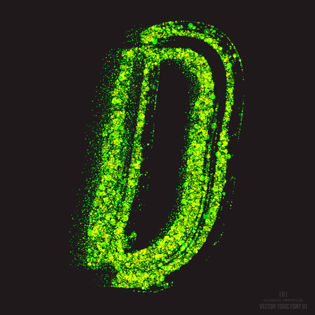 ebullient: Vector grunge toxic font 001. Letter D. Abstract acid scatter glowing bright green color particles background. Radioactive waste. Zombie apocalypse. Grungy shape. Hand made design element