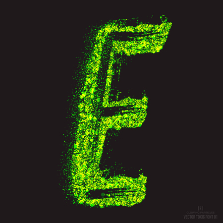 ebullient: Vector grunge toxic font 001. Letter E. Abstract acid scatter glowing bright green color particles background. Radioactive waste. Zombie apocalypse. Grungy shape. Hand made design element