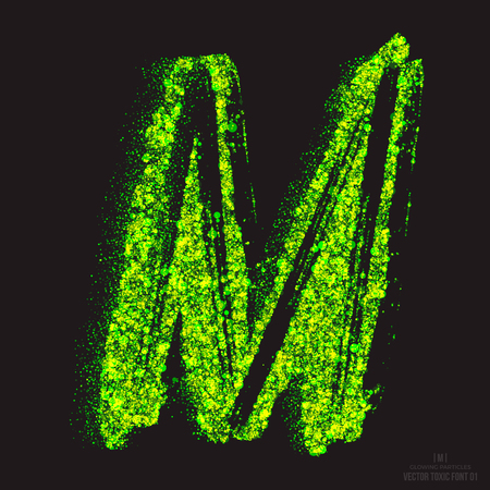 Vector grunge toxic font 001. Letter M. Abstract acid scatter glowing bright green color particles background. Radioactive waste. Zombie apocalypse. Grungy shape. Hand made design element
