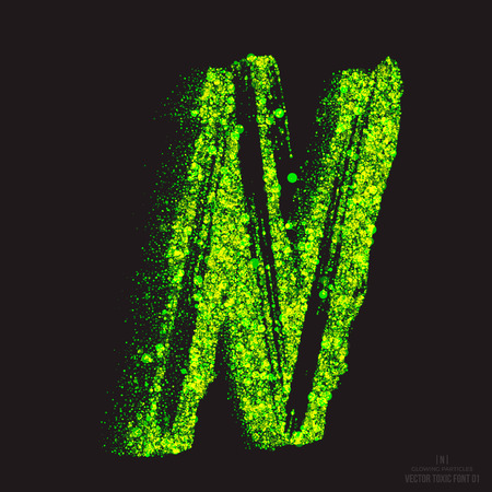 ebullient: Vector grunge toxic font 001. Letter N. Abstract acid scatter glowing bright green color particles background. Radioactive waste. Zombie apocalypse. Grungy shape. Hand made design element