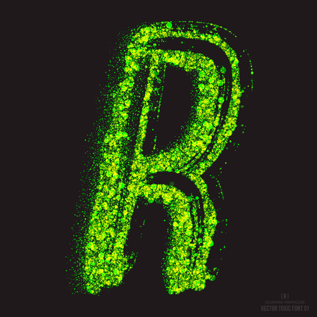 ebullient: Vector grunge toxic font 001. Letter R. Abstract acid scatter glowing bright green color particles background. Radioactive waste. Zombie apocalypse. Grungy shape. Hand made design element
