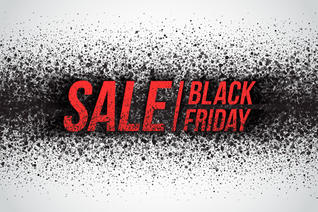 Black friday sale vector background. Illustration with 3d dirty red letters for business, marketing and holiday. Abstract dark gray round ash particles on white background. Spray effect Illustration