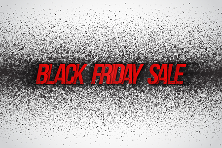 white background abstract: Black friday sale vector background. Illustration with 3d red dirty letters for business, marketing and holiday. Abstract dark gray round ash particles on white background. Spray effect Illustration