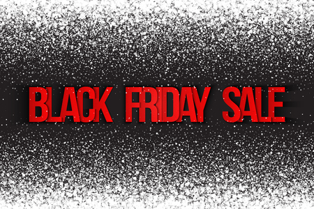 november 3d: Black friday sale vector background. Illustration 3d red and silver letters for business, marketing and holiday. Bright white shimmer glowing round falling particles. Scatter shine light explosion