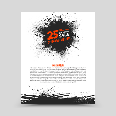 art background: Vector isolated bright flyer design template Black Friday Sale. Abstract hand made grunge illustration on white background for advertise, promote, business. Handicraft art ink scatter blot and smear